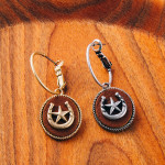 Wholesale dainty hoop earrings faux leather accent horseshoe star details