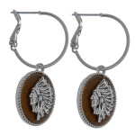 Wholesale dainty hoop earrings faux leather accent Indian details