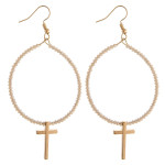 Wholesale metal drop earrings flexible wiring iridescent beaded details cross ac