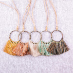Wholesale faux leather cord necklace circular pendant snakeskin wrapped details