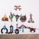 Wholesale metal guitar earrings wings cross details