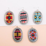 Wholesale metal drop earrings faux leather western print center detail rhineston