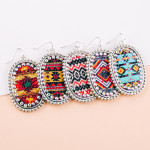 Wholesale metal drop earrings faux leather western center detail rhinestone acce