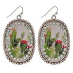Wholesale metal drop earrings faux leather western cactus print center detail rh