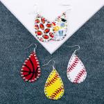 Wholesale metal football drop earrings rhinestone accents