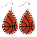 Wholesale metal basketball drop earrings rhinestone accents