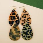 Wholesale leopard print cowhide teardrop earrings