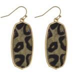 Wholesale leopard print cowhide encased drop earrings