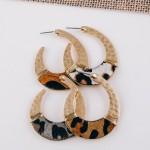 Wholesale cowhide animal print hammered j hoop earrings wire wrapped details