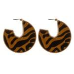 Wholesale cowhide animal print encased open hoop disc earrings diameter