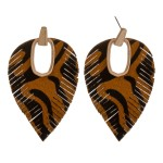 Wholesale faux leather cowhide animal print hinge cut out earrings