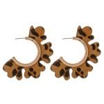 Wholesale genuine leather leopard print flower cut out hoop earrings diameter