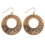 Wholesale hammered metal snakeskin earrings wire wrapped details diameter
