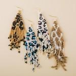 Wholesale leopard print beaded fringe tassel bohemian earrings