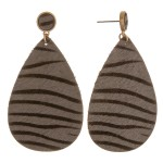 Wholesale genuine leather zebra print cowhide teardrop earrings L