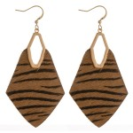 Wholesale cowhide genuine leather zebra print diamond cut out earrings
