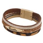 Wholesale three layered faux leather bracelet metal Faith engraved animal print
