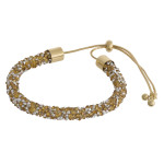 Wholesale gold silver rhinestone bracelet adjustable bolo closure Fits up wrist