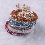 Wholesale white silver rhinestone bracelet adjustable bolo closure Fits up wrist