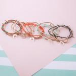 Wholesale bracelet set three beaded stretch bracelets gold accents crescent deta