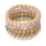 Wholesale bracelet set three wood beaded bracelets one faceted acrylic beaded st