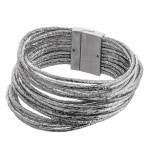 Wholesale faux leather multi strand metallic bracelet magnetic closure diameter