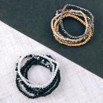 Wholesale bracelet set six beaded stretch bracelets faceted wood bead details di