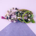 Wholesale natural stone iridescent faceted beaded stretch bracelet set lava plas