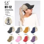 Wholesale c C BT Vintage distressed ponytail cap mesh back Cotton Polyester Adju