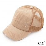 Wholesale c C BT beige distressed vintage ponytail cap Mesh back velcro closure
