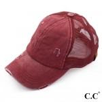 Wholesale c C BT burundy distressed vintage ponytail cap Mesh back velcro closur