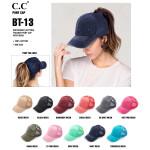 Wholesale c C BT distressed vintage ponytail cap Mesh back velcro closure Cotton