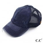 Wholesale c C BT navy distressed vintage ponytail cap Mesh back velcro closure C