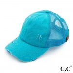 Wholesale c C BT turquoise distressed vintage ponytail cap Mesh back velcro clos