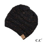 Wholesale cable knit confetti print C C beanie black acrylic