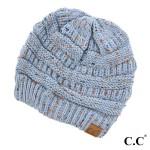 Wholesale cable knit confetti print C C beanie denim acrylic