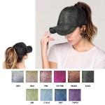 Wholesale cC Pony Cap BT C C glitter ponytail baseball cap mesh back Adjustable