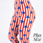 Wholesale pLUS peach skin th July capri leggings stars stripes Inseam One fits m