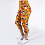 Wholesale peach skin sugar skull print capri leggings Inseam One fits most Compo