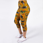 Wholesale peach skin sugar skull cat print capri leggings Inseam One fits most C