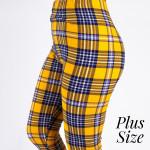 Wholesale pLUS peach skin plaid print capri leggings Inseam One fits most Compos