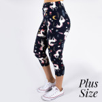 Wholesale pLUS peach skin unicorn print capri leggings Inseam One fits most Comp
