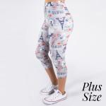 Wholesale pLUS peach skin Paris print capri leggings Inseam One fits most Compos