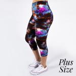 Wholesale pLUS peach skin galaxy print capri leggings Inseam One fits most Compo