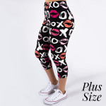Wholesale pLUS peach skin love print capri leggings kissy lips xoxo Inseam One f