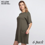 Wholesale solid color half sleeve tunic dress pockets Pack Breakdown pcs pack S