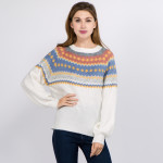 Wholesale soft touch fuzzy knit geo print sweater One fits most Acrylic Polyeste