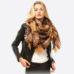Wholesale square plaid blanket scarf Acrylic