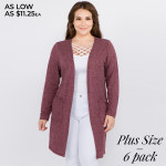 Wholesale solid color thin knit plus cardigan front pocket details Long sleeves