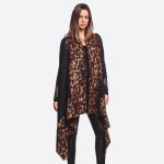 Wholesale soft touch leopard print border vest longest L Cotton Polyester